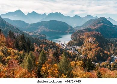View overlooking Schwangau, Bavaria, Germany