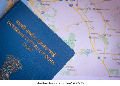 View of Overseas Citizen of India Card issued to non resident Indians. Travel document, - Shutterstock ID 1661900575