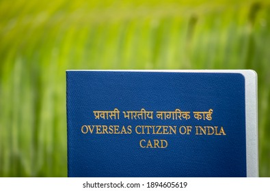 View of Overseas Citizen of India Card issued to non resident Indians. Travel document, - Shutterstock ID 1894605619