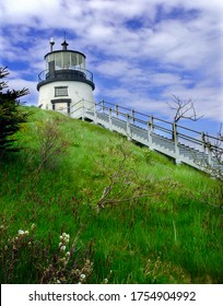 A view of the Owls Head Lighthouse in Owls Head Light State Park, Maine