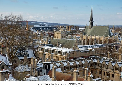 View of Oxford, above the top of Lincoln and Exeter Colleges, UK