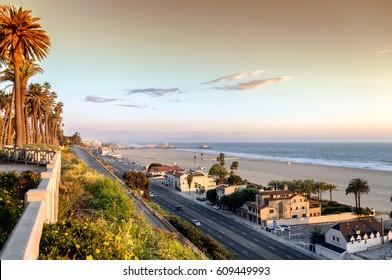 View of Pacific Coast Highway at Santa Monica beach