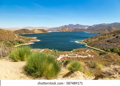 A view of The Pacific Crest Trail as it winds around Silverwood Lake in San Bernardino County, California