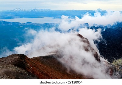 View at the Pacific ocean with of the volcano. Kamchatka.