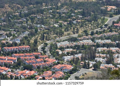 View of Pacific Palisades neighborhood from top in Topanga Canyon Park. California.