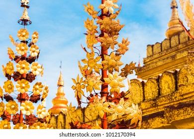 View of the pagoda sculpture of the Shwezigon in Bagan, Myanmar. Close-up