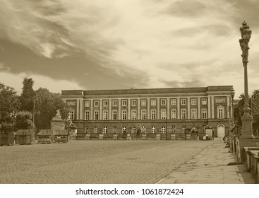 View of Palace of the Academies seen from the Royal Palace Square in Brussels, Belgium