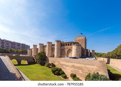 View of the palace Aljaferia, built in the 11th century in Zaragoza, Spain. Copy space for text