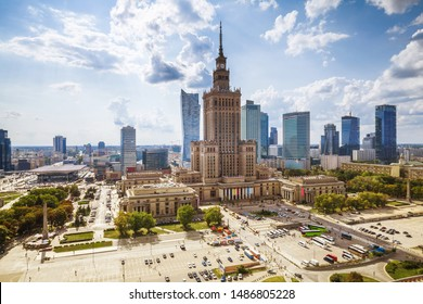 view of the palace of culture in the Polish capital Warsaw