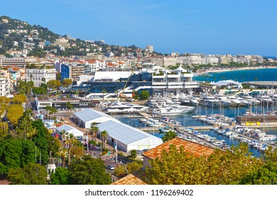 View of the Palace of Festivals and the yacht port in Cannes, Cote d'Azur, France