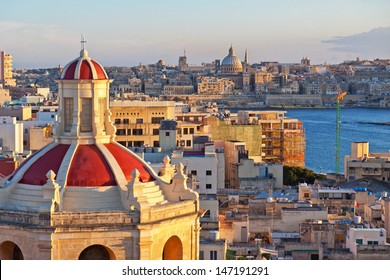 View from The Palace Hotel in Sliema with the churchs roof filling the frame