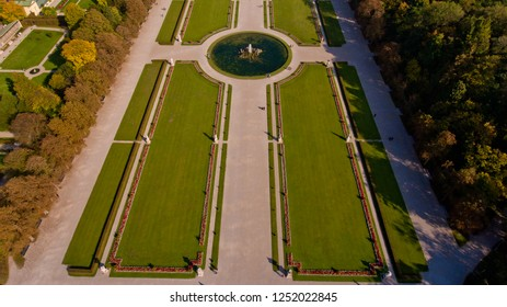 View of the palace and park ensemble Nymphenburg in Munich. Aerial view.