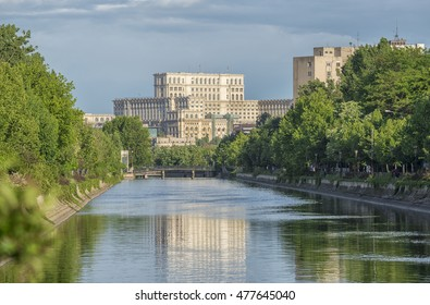 View of Palace of Parliament in Bucharest, Romania, from Dambovita river