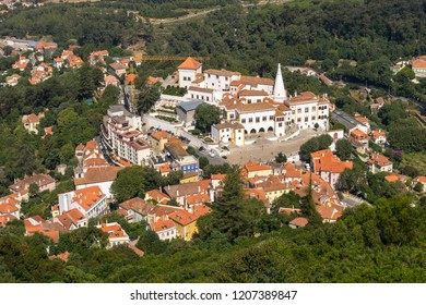 View to the Palace of Sintra (Town Palace) from the Castle of Moors