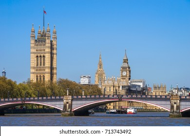 View of Palace of Westminster and Big Ben over The Lambeth Bridge