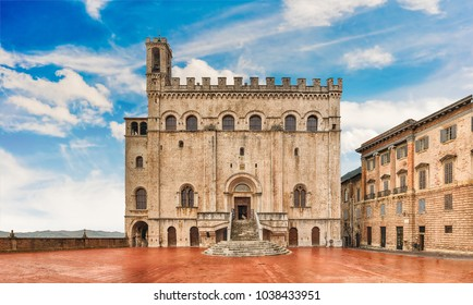 View of Palazzo dei Consoli, a medieval building facing the scenic Piazza Grande in Gubbio, Umbria, central Italy. It is house to the local Civic Museum