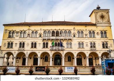 View of the Palazzo dei Vescovi in Belluno. 3 January 2019 Belluno, Veneto - Italy