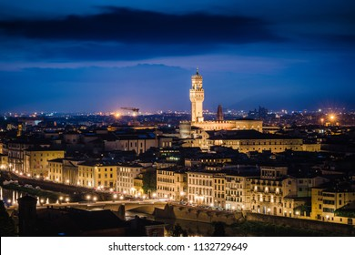 View of Palazzo Vecchio After Sunset in the city of Florence Italy
