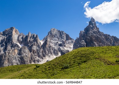 View of Pale di San Martino, Italian Dolomites in Trentino