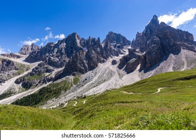 View of Pale di San Martino, Italian Dolomites in Trentino