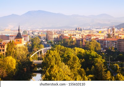 View of Pamplona with bridge over Arga. Navarre
