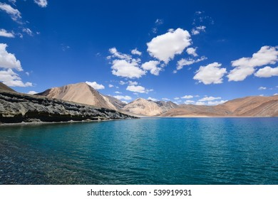 View of Pangong Lake with blue sky in summer ,Leh Ladakh,India