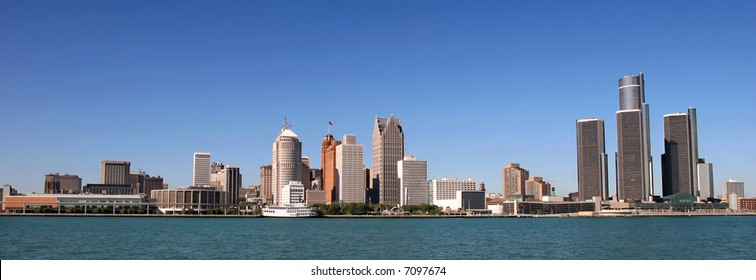 view of panorama Detroit skyline from Windsor