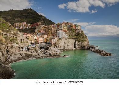 View of panorama of Manarola village of Cinque terre in Italy