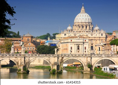 view of panorama Vatican City from Ponte Umberto I in Rome, Italy