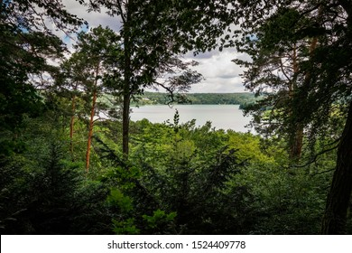 """View from the """"Panoramaweg"""" (""""Panoramic Trail"""") to the """"Schermützelsee"""" in the """"Maerkische Schweiz"""" nature reserve (view in direction north)"""