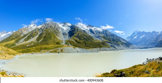 View Panoramic of Hooker Glacier Lake and Mount Cook in New Zealand