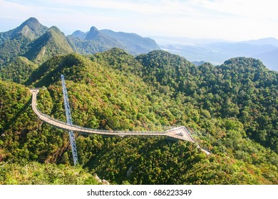 View of panoramic Langkawi Sky Bridge from a higher vantage point. SkyCab is one of the major attractions in Langkawi island, Malaysia