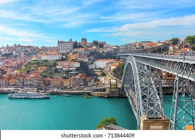 view of panoramic porto old town and dom luis bridge with douro river ,portugal