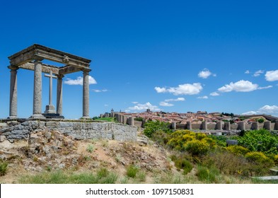 View panoramic of the walled city of Avila from the four columns