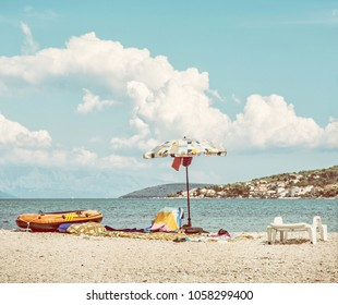 View from the Pantan beach in Trogir to the Ciovo island, Croatia. Summer vacation. Destination scenic. Beauty photo filter.