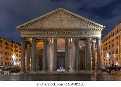 View of Pantheon at night in Rome, Italy. Castle of the Holy Angel. Roman architecture and landmarks. Old and famous attraction of Rome and Italy.