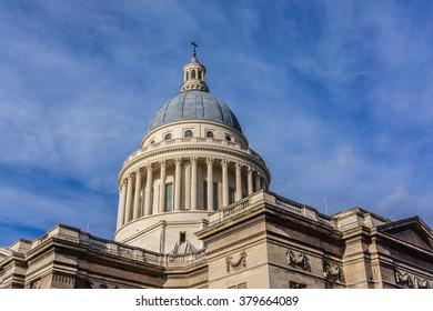 View of Pantheon (originally built as a church dedicated to St. Genevieve, 1758 - 1790, now secular mausoleum). Place du Pantheon. Latin Quarter. Paris, France.