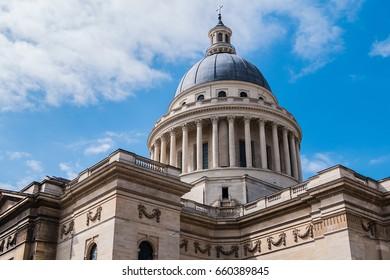 View of Pantheon (originally built as a church dedicated to St. Genevieve, 1758 - 1790, now secular mausoleum) from place du Pantheon. Latin Quarter. Paris, France.