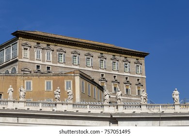 View of the Papal Apartments from Saint Peter's Square, Vatican City, Vatican.