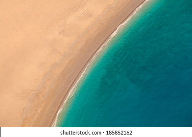 View from parachute on the sandy beach