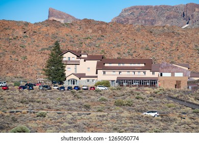 View of the Parador Hotel and the rocks near the Teide volcano. Tenerife. Canary Islands.