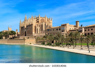 View of Parc de la Mar and famous Cathedral of Santa Maria under blues sky in Palma de Mallorca, Spain.