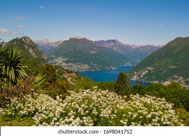 View of the Parco San Grato in Lugano, Switzerland. Alpine mountain scenery on a sunny summer day and views of Lake Lugano.