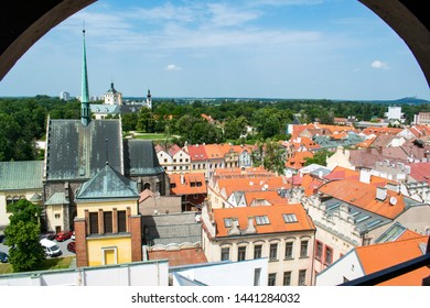 A view of Pardubice city center from the Green Gate with Pardubice Castle and Kuneticka Hora castle in the background - Shutterstock ID 1441284032
