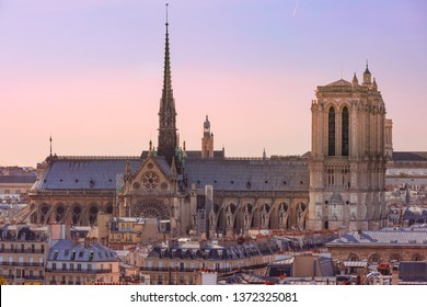 View of Paris with Cathedral of Notre Dame, France
