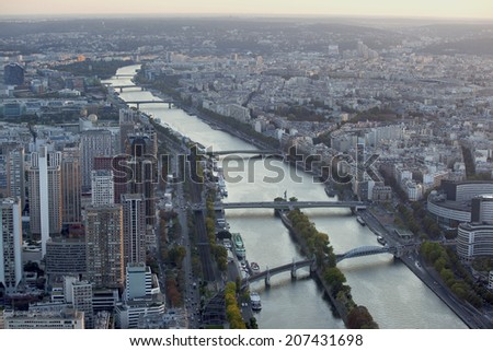 View of Paris and the River Seine from the Eiffel Tower