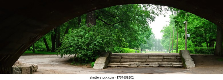 View of the Park alley leading to the entrance from the city side, surrounded by flowering vegetation and tall trees with well-maintained paths through the old tunnel under the railway bridge