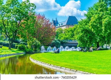 View of a park in front of the hanseatic courthouse in Hamburg, Germany.