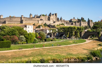 View of park outside the fortress town of Carcassonne in southern France