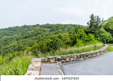 View of parking lot with nobody in Shenandoah Blue Ridge appalachian mountains on skyline drive overlook